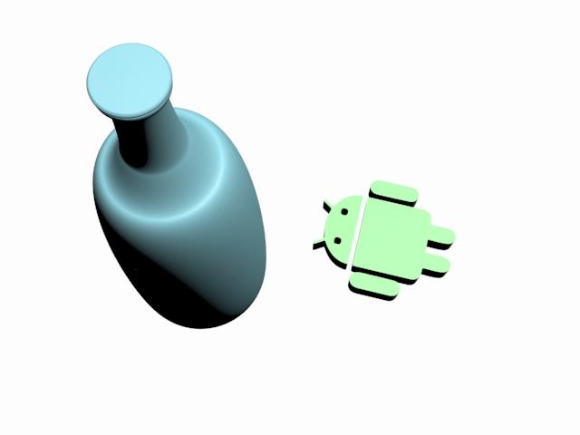 Botella y logotipo de Android